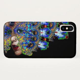 EPHEMERAL Lady With Fractal Mask Black Blue iPhone X Case
