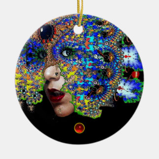 EPHEMERAL , Red Ruby , Blue Sapphire Ceramic Ornament