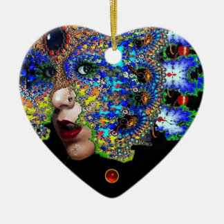 EPHEMERAL , Red Ruby , Blue Sapphire Heart Ceramic Ornament
