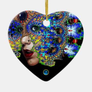 EPHEMERAL , Red Ruby , Blue Sapphire Heart Christmas Tree Ornaments