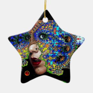 EPHEMERAL , Red Ruby , Blue Sapphire Star Christmas Tree Ornament
