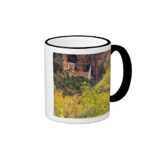 Ephemeral waterfall pours out of slot in cliff ringer mug