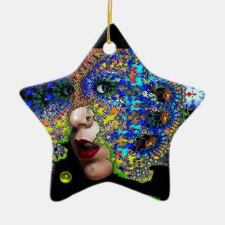 EPHEMERAL , Yellow Topaz , Blue Sapphire Star Ceramic Ornament