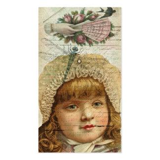 Ephemeras de la libélula de los rosas del vintage tarjetas de visita