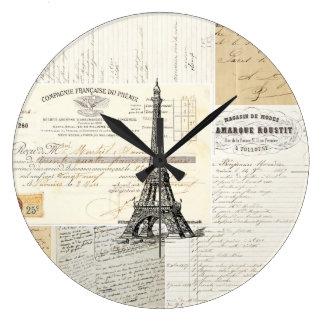 Ephemeras del francés de París del vintage Reloj De Pared