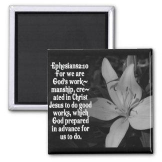 EPHESIANS 2:10 BIBLE SCRIPTURE QUOTE 2 INCH SQUARE MAGNET