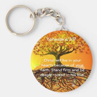 Ephesians 3:17 basic round button keychain
