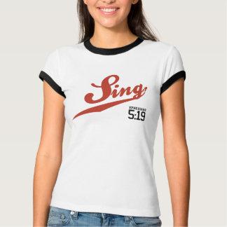 Ephesians 5:19 Sing Ladies' Ringer T-Shirt