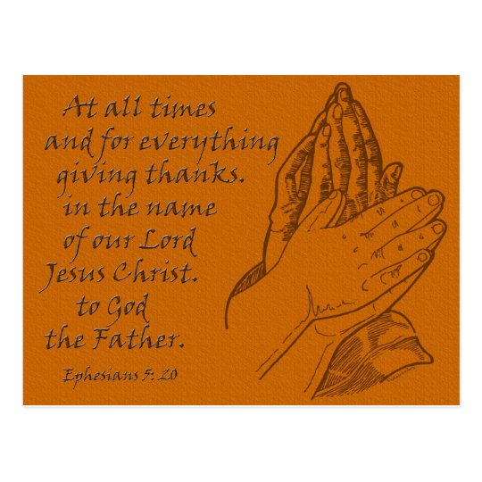 Ephesians 5:20 At all times...giving thanks Postcard
