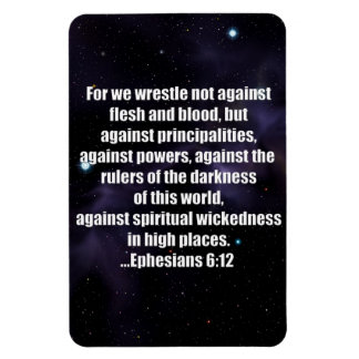 Ephesians 6:12 Bible Verse on Space Background Vinyl Magnets