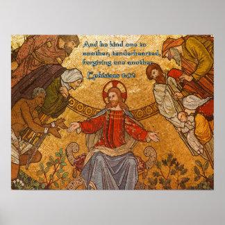 Ephisians 4:32 Jesus Mosaic Poster