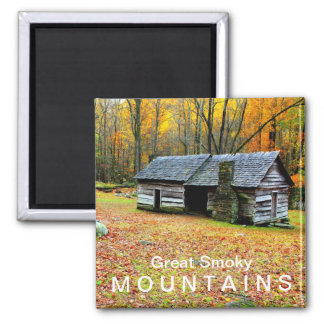 Ephraim Bales Cabin  Great Smoky Mountains 2 Inch Square Magnet