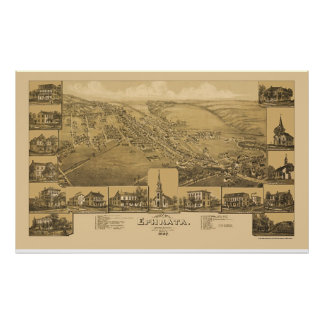 Ephrata, mapa panorámico del PA - 1887 Póster