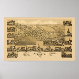 Ephrata, mapa panorámico del PA - 1887 Póster