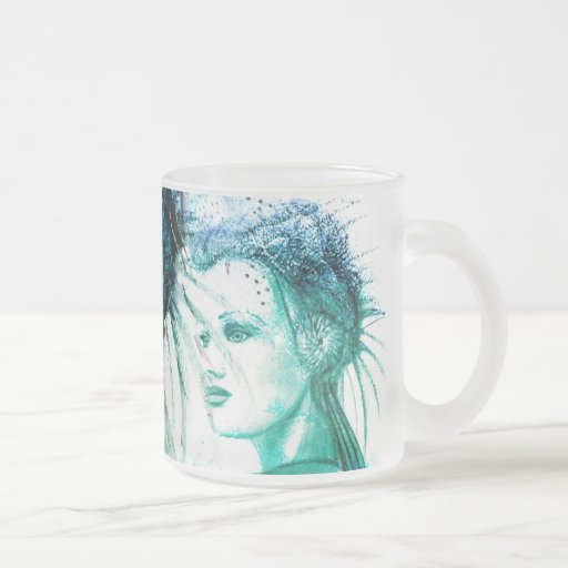 """Ephyra """"Daughter of Oceanus"""" 10 Oz Frosted Glass Coffee Mug"""