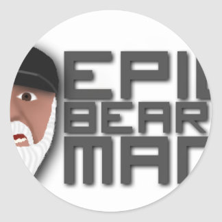 Epic Beard Man Classic Round Sticker