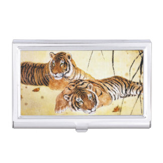 Epic chinese fluffy cat tiger resting vintage art business card holders