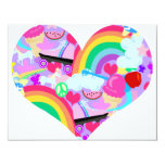 Epic Eighties Explosion Heart 4.25x5.5 Paper Invitation Card