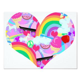 "Epic Eighties Explosion Heart 4.25"" X 5.5"" Invitation Card"