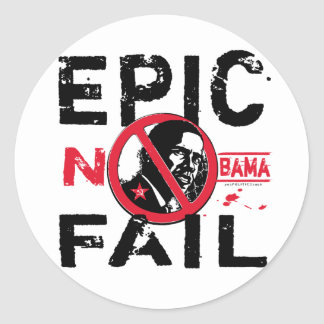 Epic Fail Anti-Obama Classic Round Sticker