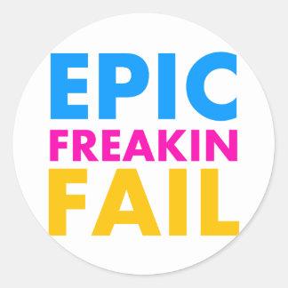 Epic Fail Round Sticker