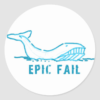 Epic Fail Whale Classic Round Sticker
