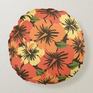 Epic Hibiscus Hawaiian Floral Aloha Shirt Print Round Pillow