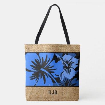 Beach Themed Epic Hibiscus Hawaiian Floral Monogram Beach Bag