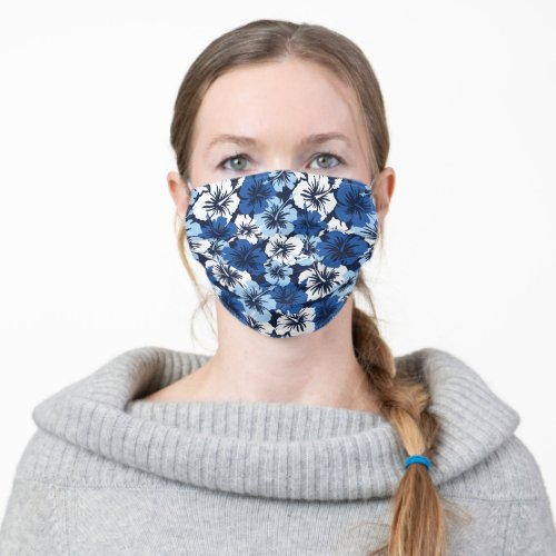 Epic Hibiscus Hawaiian Floral _ Navy Blue Cloth Face Mask