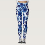 "Epic Hibiscus Hawaiian Tropical Floral Leggings<br><div class=""desc"">Navy,  White and Sky Blue Colorway. These oversized hand rendered hibiscus flowers are reminiscent of the flowers used in vintage aloha shirts in the forties and fifties. These designs come in several colorways.</div>"