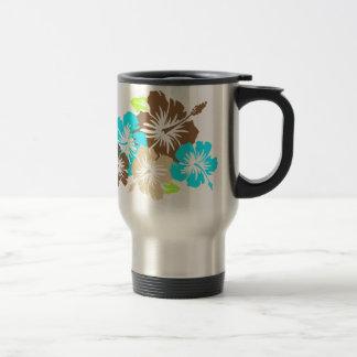"""""""Epic Hibiscus"""" in Brown/Turq Travel Mug"""
