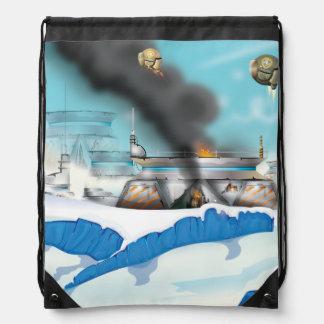 Epic Ice Planet Space Battle Drawstring Bag