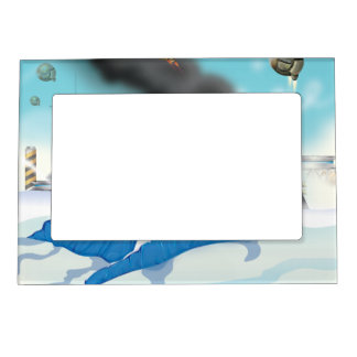Epic Ice Planet Space Battle Magnetic Photo Frame