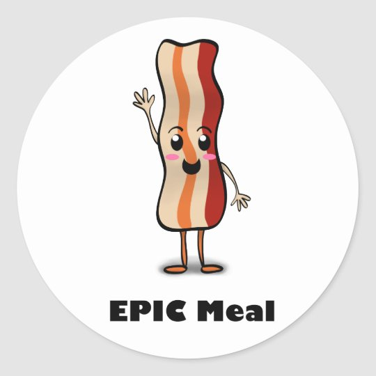 Epic Meal Bacon! Classic Round Sticker