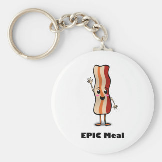 Epic Meal Bacon! Basic Round Button Keychain