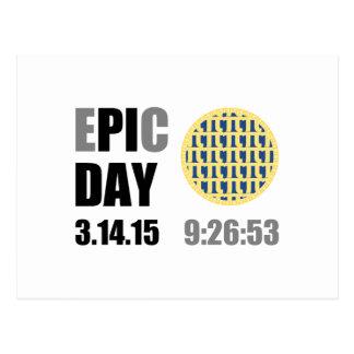 "Epic Pi Day - E""PI""C Day Blueberry Lattice Pie Postcard"
