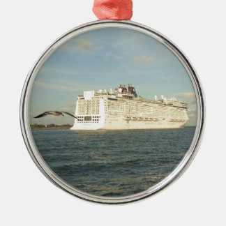 Epic Pursuit - Bird Follows Cruise Ship Metal Ornament