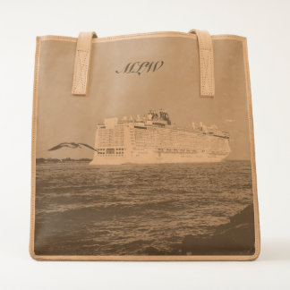 Epic Pursuit Gull and Cruise Ship Monogrammed Tote