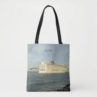 Epic Pursuit - Gull and Cruise Ship Monogrammed Tote Bag