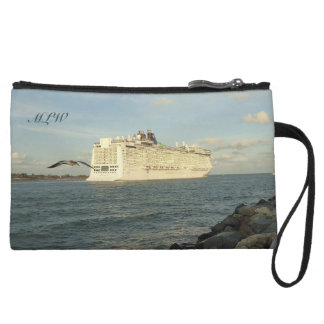 Epic Pursuit - Gull and Cruise Ship Monogrammed Wristlet Wallet