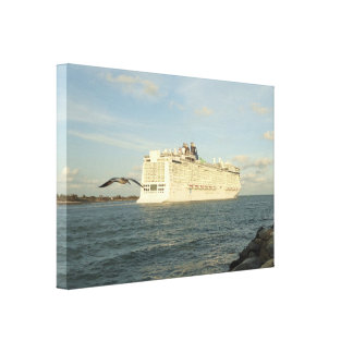 Epic Pursuit - Gull Following Cruise Ship Canvas Print