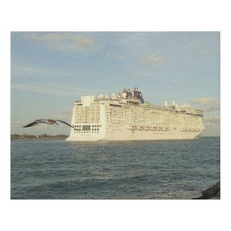 Epic Pursuit - Gull Follows Cruise Ship Faux Canvas Print