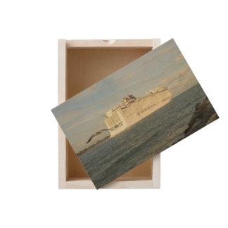 Epic Pursuit - Gull Follows Cruise Ship Wooden Keepsake Box