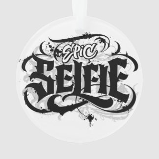 'Epic Selfie' Lettering Tattoo Christmas Ornament