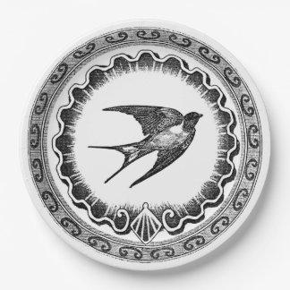 Epic Vintage Black And White Bird Design Paper Plate