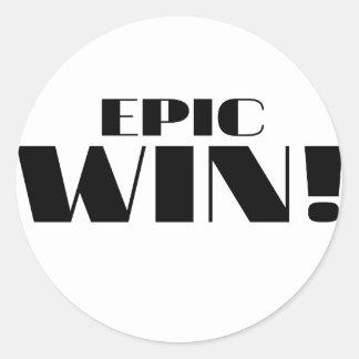 Epic Win! Classic Round Sticker