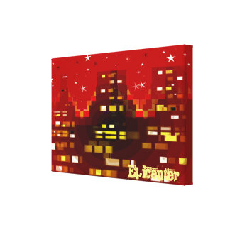 """""""Epicenter"""" Red City Skyline at Night canvas print"""