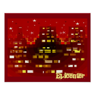 """""""Epicenter"""" Red City Skyline at Night poster"""