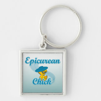 Epicurean Chick #3 Silver-Colored Square Keychain