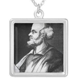 Epicurus, engraved by Johann Fredrich Schmidt Square Pendant Necklace